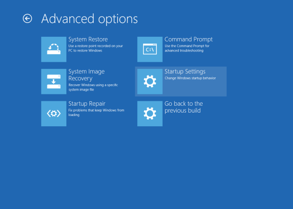 Windows 10 Advanced options - Startup settings