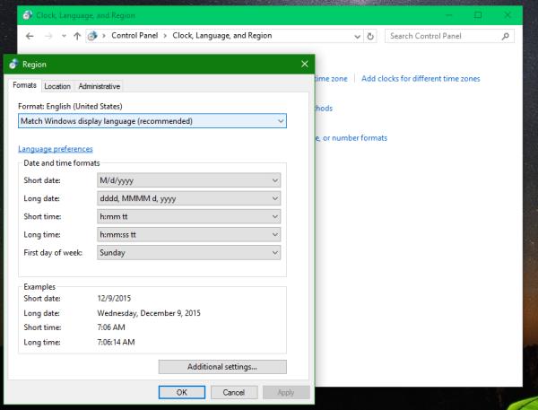 Windows 10 Control Panel Region 2