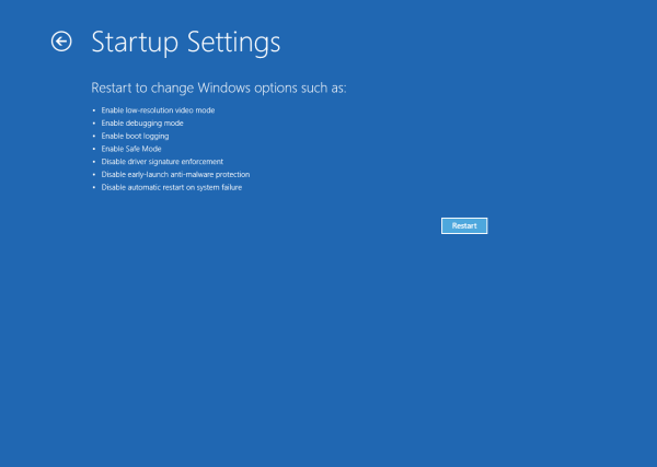 Windows 10 Startup settings - Restart