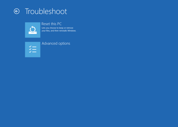 Windows 10 Troubleshoot - Advanced options