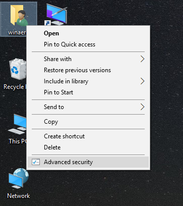 Windows 10 advanced security context menu command