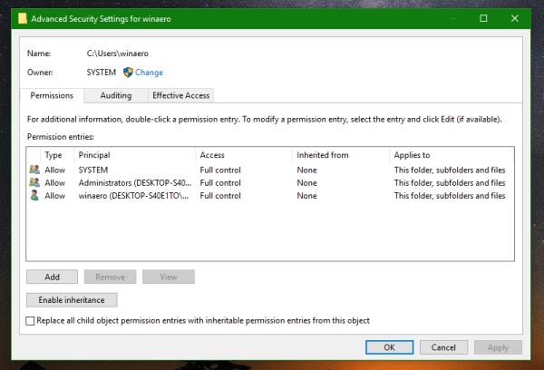 Windows 10 advanced security context menu dialog