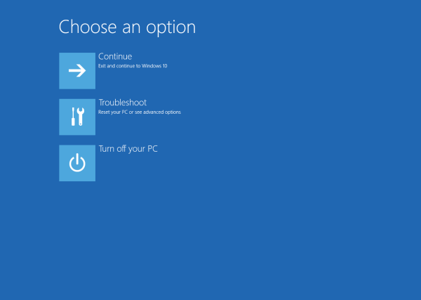 Windows 10 advanced startup options in action
