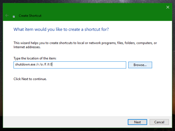 Windows 10 advanced startup options shortcut