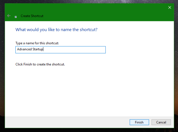 Windows 10 advanced startup options shortcut name