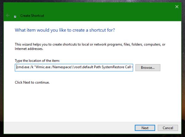 Windows 10 create restore point shortcut