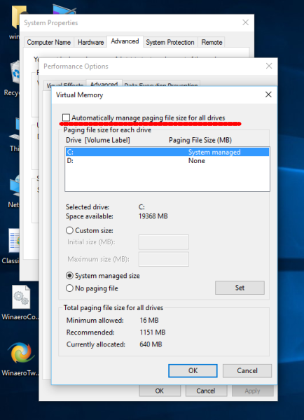 Windows 10 disable automatic pagefile