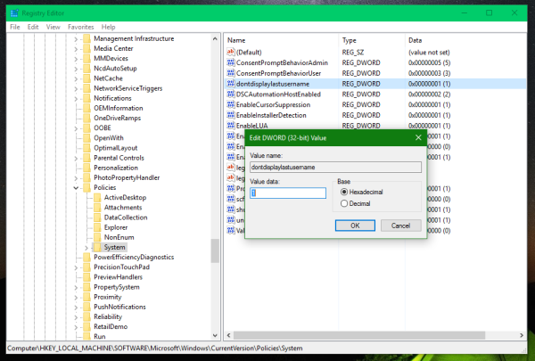 Windows 10 dont display last user name Registry