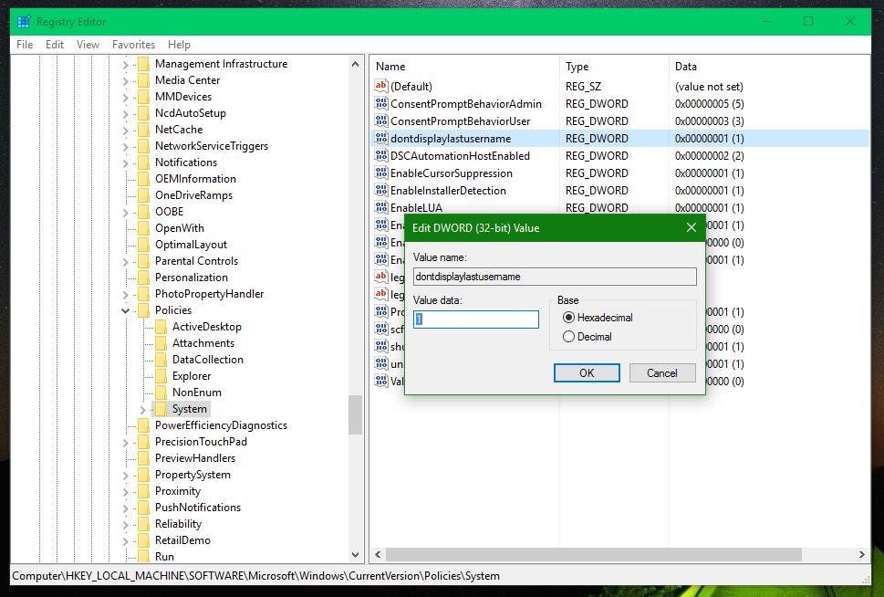 windows 10 username not showing
