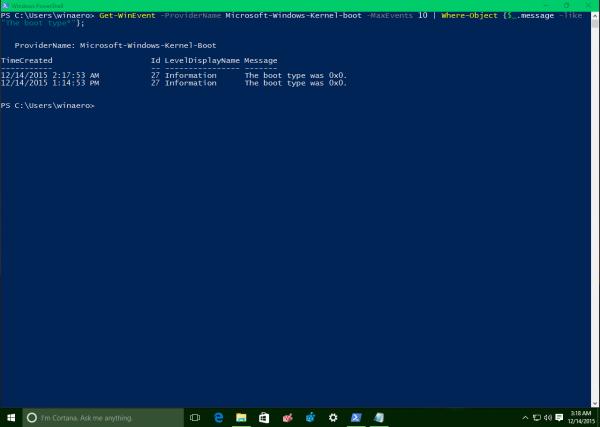 Windows 10 last boot type