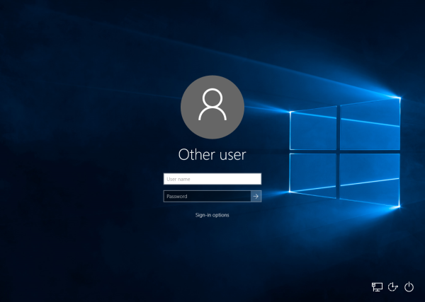 Windows 10 login screen without username