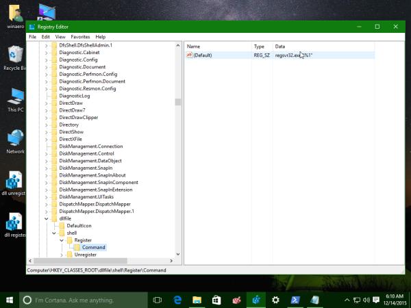 Windows 10 register dll register tweak