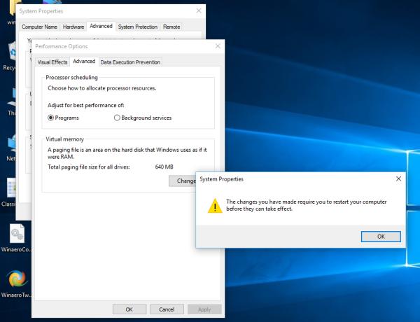 Windows 10 restart warning