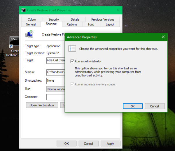 Windows 10 restore point shortcut admin