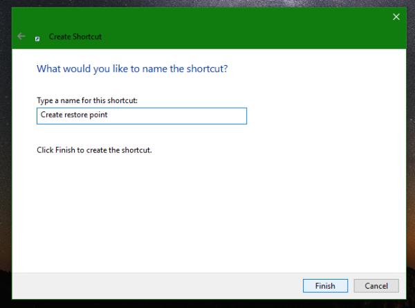 Windows 10 restore point shortcut name