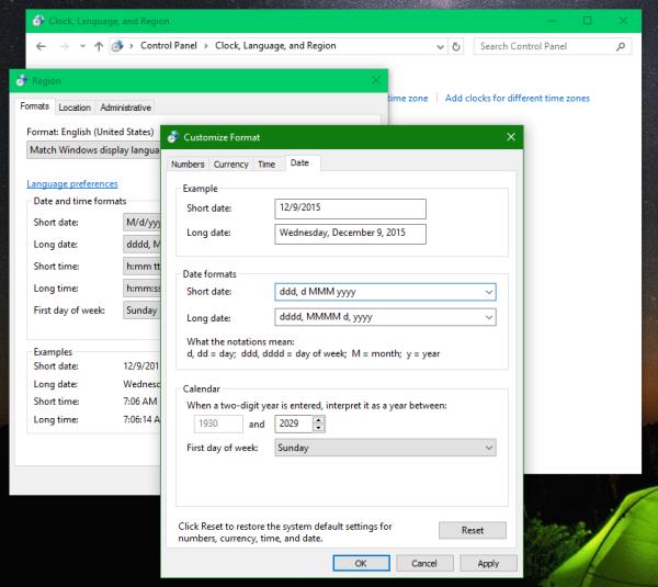 Windows 10 short date format