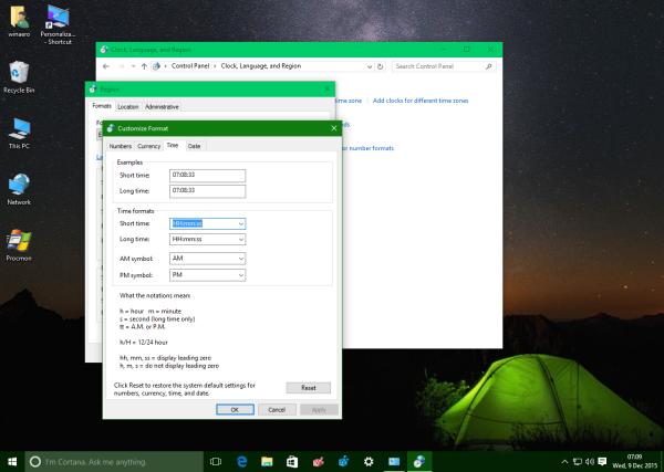 Windows 10 short time format