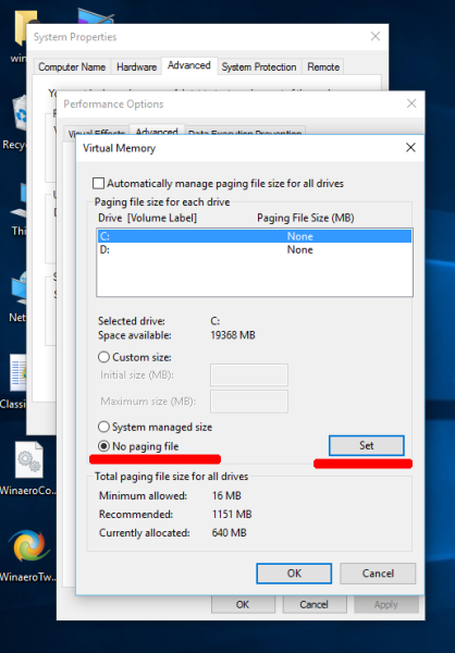 Windows 10 sys drive page file disable
