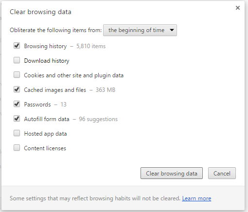 Chrome49-Clear Private data