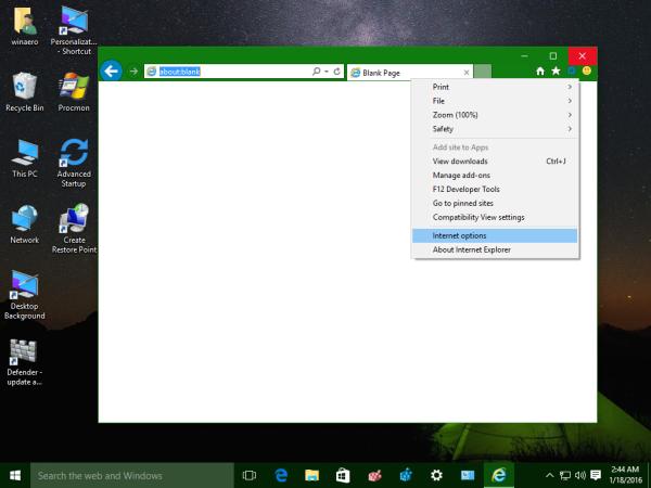 Internet Explorer - Tools - Internet Options