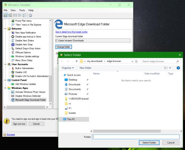 Winaero Tweaker edge download folder