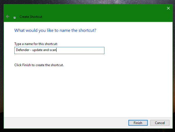 Windows 10 Defender name shortcut
