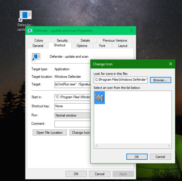 Windows 10 Defender shortcut icon