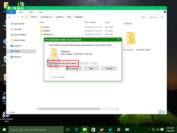 Windows 10 Do this for all current items checked