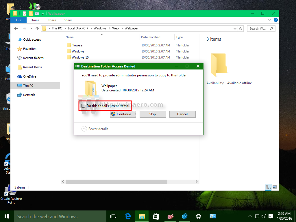 Bitcoin Value Current >> Do this for all current items checkbox - set checked by default in Windows 10
