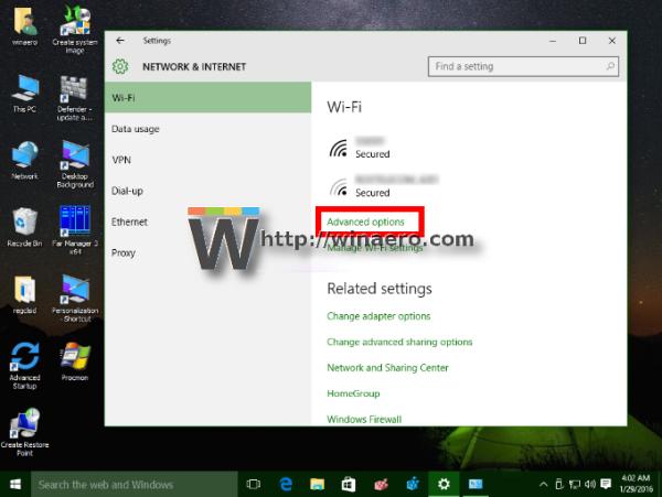 Windows 10 Settings app Wifi