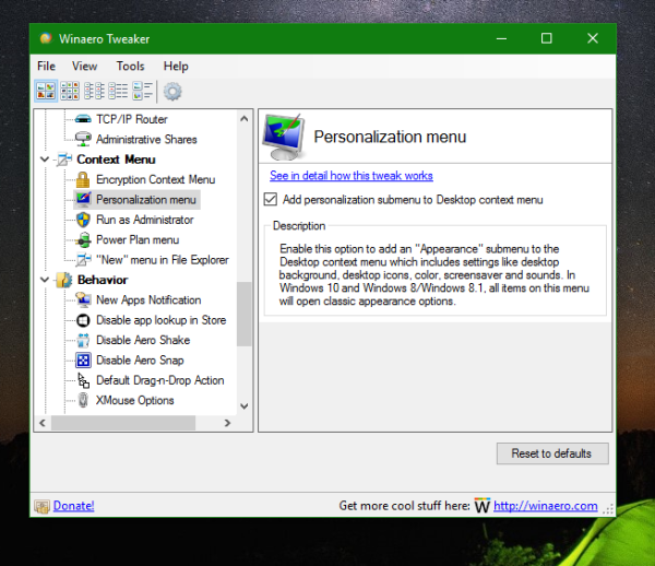 Windows 10 Winaero Tweaker personalization