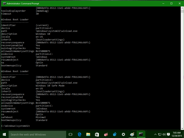 Windows 10 bcdedit output