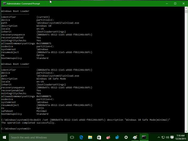 Windows 10 bcdedit rename OS