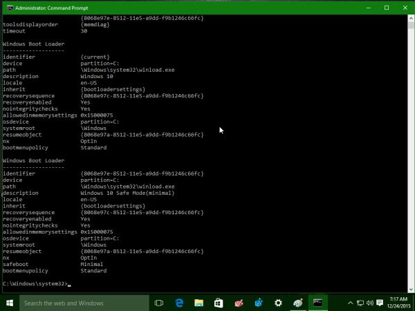 Windows 10 bcdedit result output