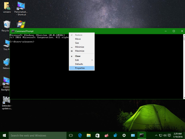 Windows 10 command prompt properties context menu