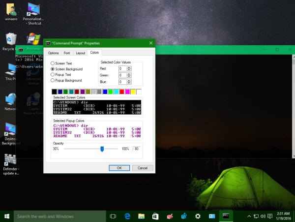 Windows 10 command prompt transparency level