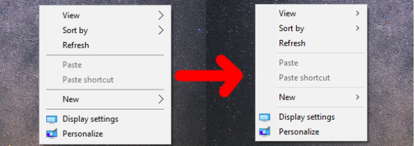 Windows 10 context menus comparsion