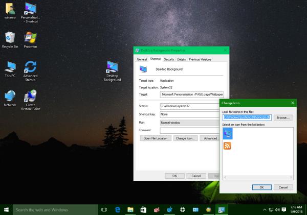 Windows 10 desktop background shortcut