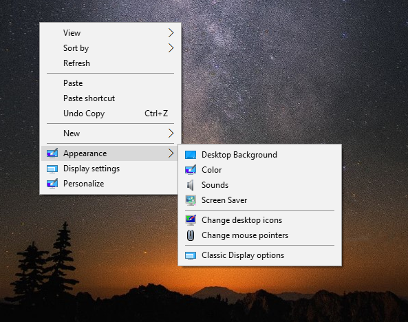 Windows 10 desktop context menu