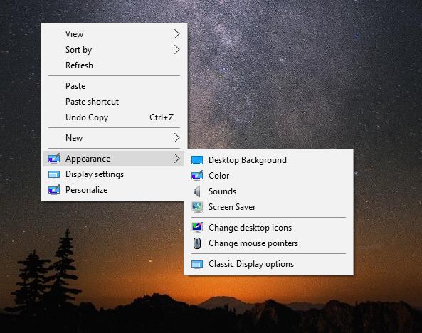 Windows 10 desktop context menu