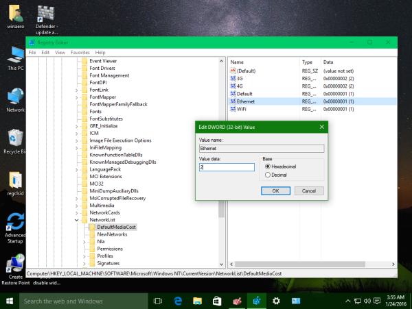 Windows 10 ethernet set as metered