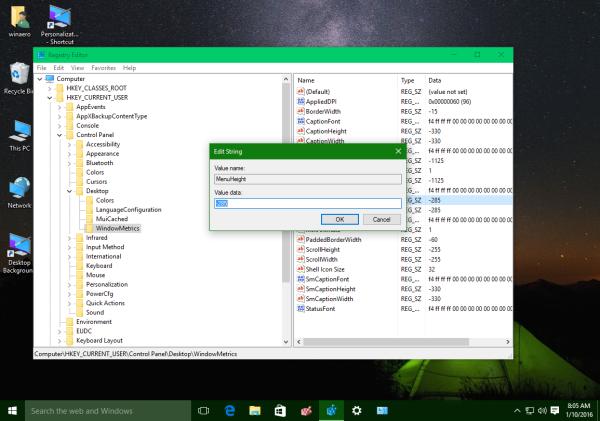 Windows 10 menu height registry
