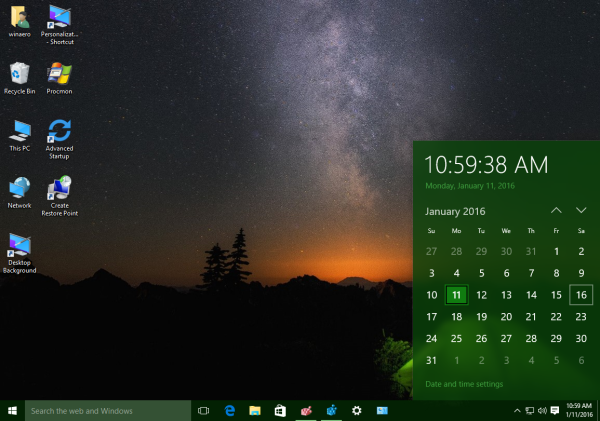 Windows 10 new date pane