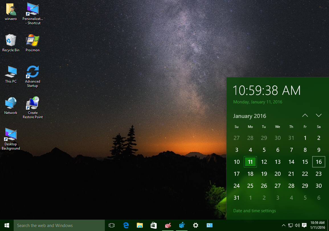 Get the old Windows 7-like Calendar and Date pane in Windows 10