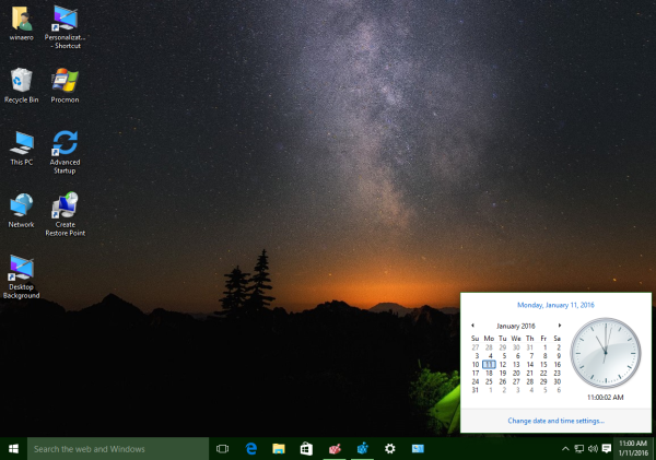 Windows 10 old calendar and date pane
