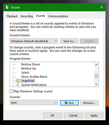 Windows 10 screenshot sound is set