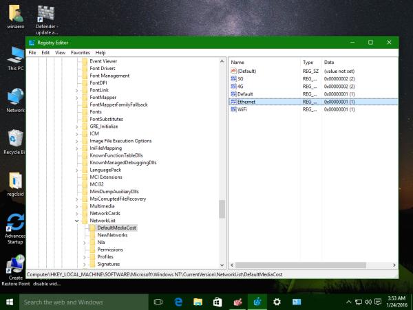Windows 10 set ethernet metered