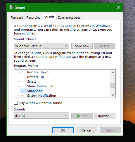 Windows 10 set screenshot event sounds