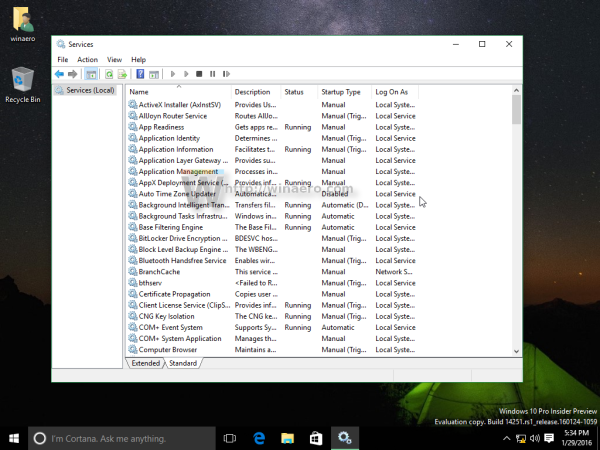 Windows 10 standard view services list