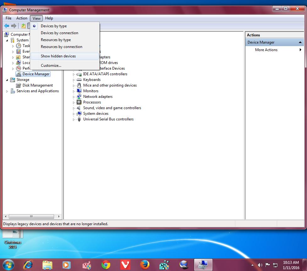 windows 10 show hidden devices